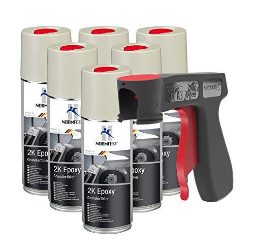 AUPROTEC 2K Grundierfüller Epoxy Lack Füller Grundierung Spray matt beige 6X 400ml + 1x Original Pistolengriff