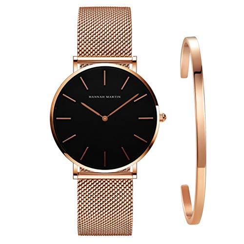 Kubagom Damen Uhren Analog Quarz Edelstahl Wasserdicht Mesh Ultradünne Set mit Armreif (Schwarz Oberfläche,Rosegold Armband,Rosegold Armreif)