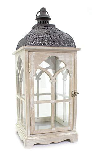 DARO DEKO Holz Laterne mit Echt-Glas Scheiben 25cm x 25cm x 59cm