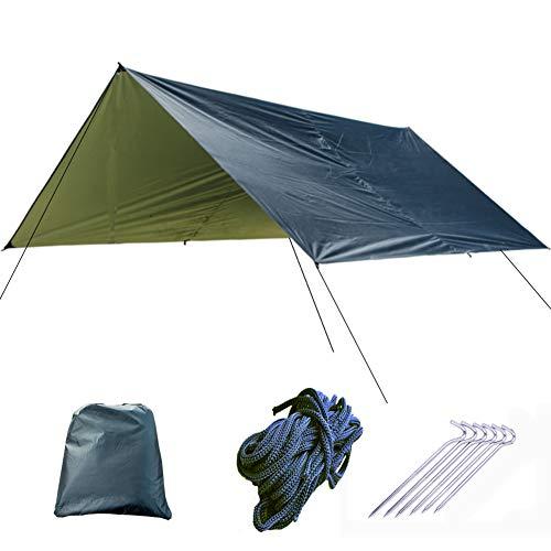 ZHOUBA - Tienda de campaña para acampar, senderismo, playa, refugio solar, protección solar, 3 x 3 m, toldo para exteriores, tela de jardín, color negro