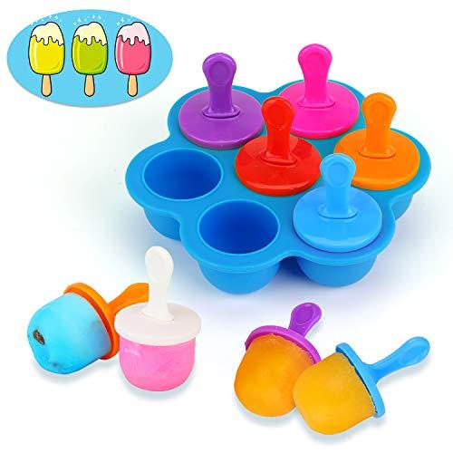 KATELUO Mini Stampo in Silicone per Ghiaccioli con Bastoncini di Plastica Colorati - 7 Scomparti Fai da Te, per Alimenti per Bambini Contenitore, Ghiaccioli, Mousse, Mini Torta, Dessert Fai da Te