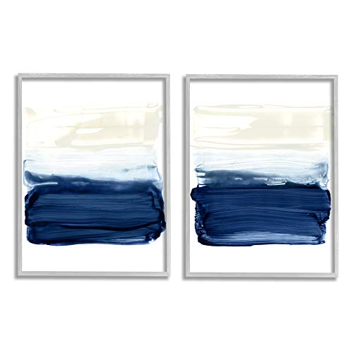 Stupell Industries Coastal Brushstrokes Abstract Beach Ombre, Design by Victoria Barnes Grey Framed Wall Art, 2pc, Each 16 x 20, Blue