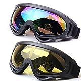 JTENG Occhiali da Sci Snowboard Maschera da Sci Anti Nebbia Protezione Occhiali Protezione UV Goggles Occhiali Anti-Vento Anti-Luce Solare Anti-Sand per Moto Scooter (2 Pezzi: 1 Colore + 1 Grigio)