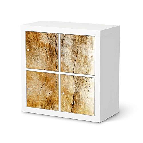creatisto Möbelfolie passend für IKEA Kallax Regal 4 Türen I Möbeldeko - Möbel-Folie Tattoo Sticker I Wohn Deko Ideen für Wohnzimmer, Schlafzimmer - Design: Unterholz