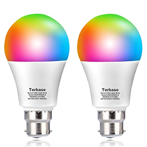 Alexa WiFi Smart Light Bulbs Bayonet, Torkase 9W (80W Equivalent) B22 RGB Dimmable Bulb Remote Control and Voice Control Compatible with Amazon Alexa, Google Home, No Hub Required - 2PACK