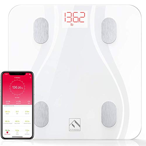 FITINDEX Smart Body Fat Scale with Upgraded App, High Precision Bathroom Scales Digital Weight and Body Fat Body Composition Monitor, 396lb/180kg, White