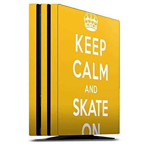 DeinDesign Skin kompatibel mit Sony Playstation 4 Pro PS4 Aufkleber Folie Sticker Keep Calm Skateboard Skaten