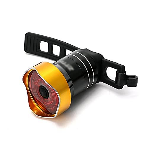 TSRJ Luz Trasera para Bicicleta, luz LED Trasera para Bicicleta, USB Recargable, Impermeable, para Casco, Mochila, luz LED, luz estroboscópica de Advertencia de Seguridad, 6 Modos de luz,Gold