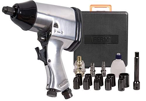 FERM ATM1043 Pneumatische Slagmoersleutels - 1/2 inch, Orion en DIN Plug - inclusief Accessoires - Opbergkoffer