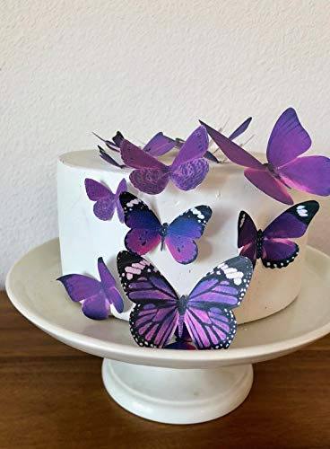Edible Butterflies - Assorted Royal Purple Set of 15 - Cake and Cupcake Toppers, Decoration
