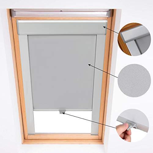 iKINLO M06/306 Rolgordijnen, verduisterd dakgordijn, gordijn voor velux, dakraam, aluminium frame, thermische jaloezieën (61,3x94cm grijs)