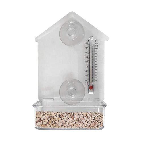Comedero para PáJaros, Jaula Transparente para AlimentacióN De PáJaros con Ventosas Fuertes Soporte Comedero Birdhouse Alimentador Cerca Caja De Alimentos para AlimentacióN En Jardines Al Aire Libre