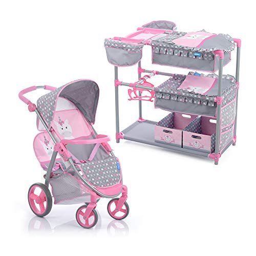 Hauck Unicorn Twin Doll Stroller with Twin Care Center Featuring Bunk Beds, Feeding for Two, Storage and Hangers, Multi