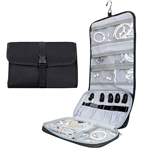 MONSTINA Travel Jewelry Organizer Case Foldable Jewelry Roll Bag with Hook for Necklace Earrings Rings Bracelet Brooches