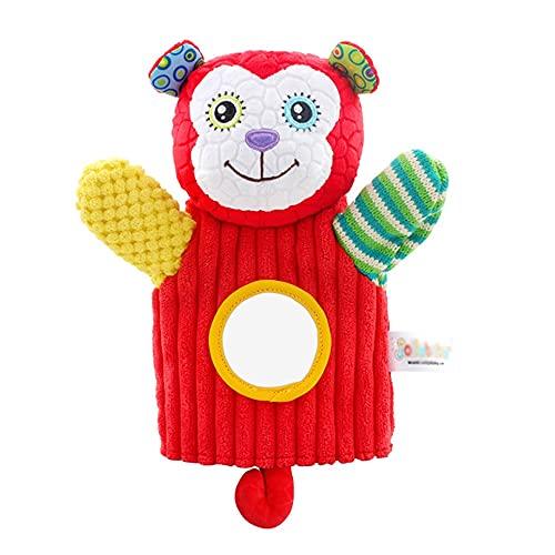 HONDER Marionetas de mano para niños, animales de peluche, amigos del zoológico para bebés con campanas y espejo de Haha, juego de rol para niños, regalo de cuentos preescolares para (color mono)