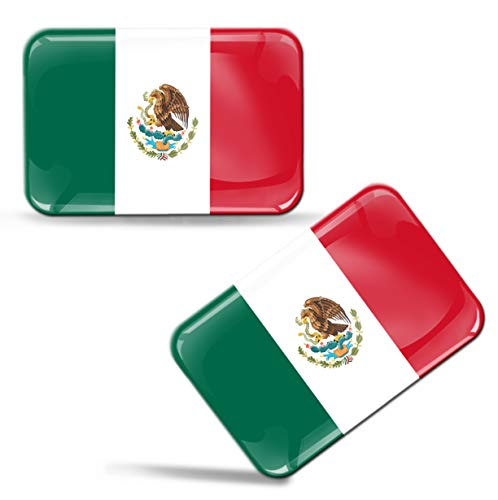2 x 3D Mexico National Flag Domed Stickers 100% Waterproof & UV Protected Decals Car Motorcycle Helmet F 120