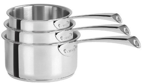 Cristel - S3CCM- Série de 3 Casseroles inox 16-18-20cm - Collection Casteline
