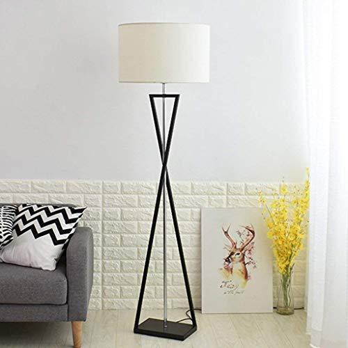 BUDBYU Nordic Simple Cloth Stehlampe für Schlafzimmer Nachttischlampe aus europäischem Eisen 0609A (Farbe: cremefarben) Dekoration