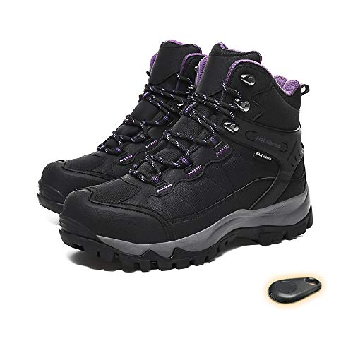HMSPACES Women's Rechargeable Electric Heated Shoes, Waterproof Snow Warm Boots for Angler Camper Hiker Walker in Cold Weather Winter (5.5)