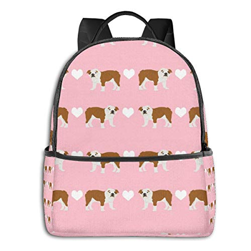Bruce Tout English Bulldog Heart Fabric Pet Dog Breed Daypack with Side Pockets, Travel and Sport Backpack Rucksack Large Capacity College School Bookbag Anti-Theft Multipurpose