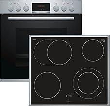 Bosch HND411LS61 Herd-Kochfeld-Kombination Einbau / A / 59,4 cm / Edelstahl / Klapptür / LED-Display / GranitEmail / Elektrokochfeld herdgesteuert / 4 HighSpeed Kochzonen / Umlaufender Rahmen