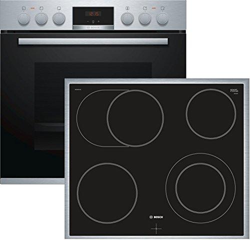 Bosch HND411LS61 Herd-Kochfeld-Kombination (Einbau) / A / 59,4 cm / Edelstahl / Klapptür / LED-Display / GranitEmail / Elektrokochfeld (herdgesteuert) / 4 HighSpeed Kochzonen / Umlaufender Rahmen