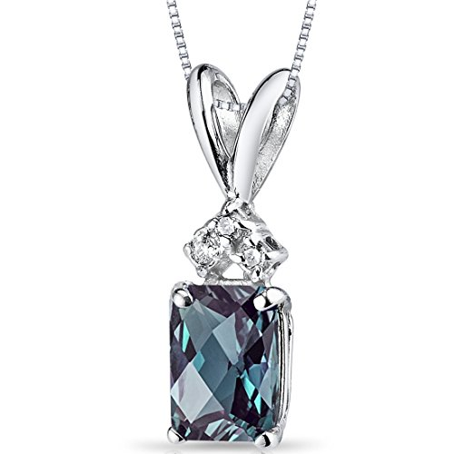 Peora Created Alexandrite Pendant in 14K White Gold with Genuine Diamonds, Elegant Radiant Cut Solitaire, 1.25 Carats