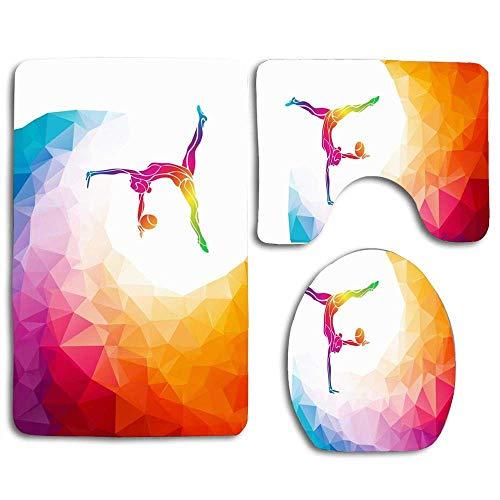 N\A Abstract Kid Creative Silhouette Gymnastic Girl People Sport Recreation Acrobat Acrobatic Activity Alfombra de baño Set 3PCS Alfombra de baño Antideslizante Contorno, tapete y Tapa de Inodoro