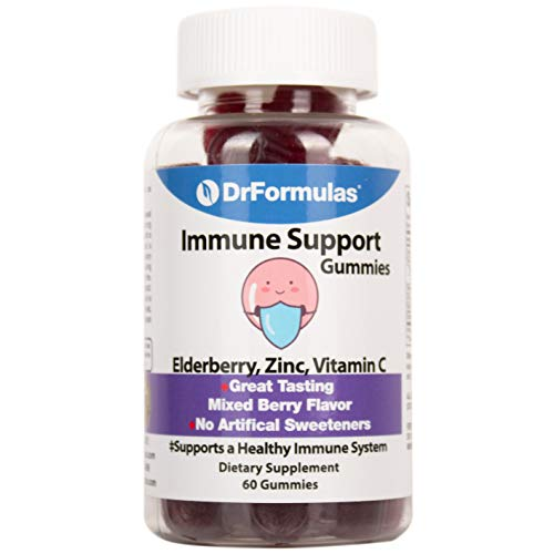 DrFormulas Zinc Vitamins for Adults Gummies & Kids with Sambucus Elderberry and Vitamin C | Immune Supplement, Gluten Free, Vegan, 60 Gummies
