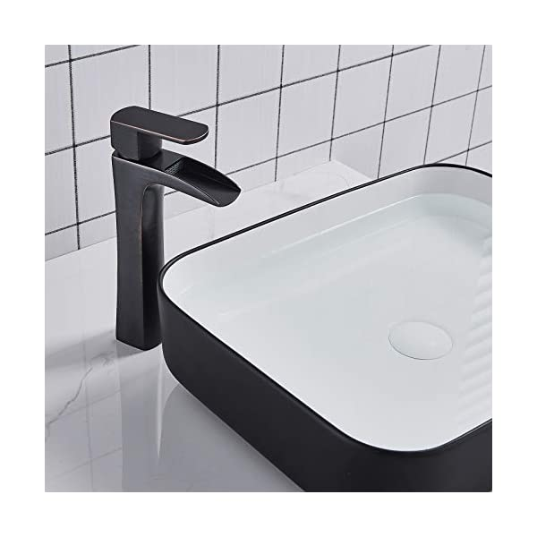 Saeuwtowy Grifo de Lavabo Baño Grifo Cascada Monomando Para Cuadrado Fregadero Mezclador Agua Fria y Caliente Disponible