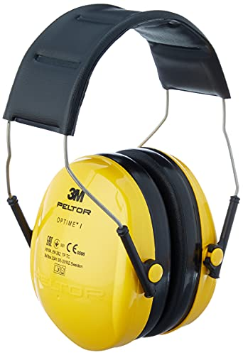3M H510AC Peltor Optime, Protectores auditivos de hasta 98 dB, ligeros y ajustable para el uso de herramientas eléctricas, Amarillo