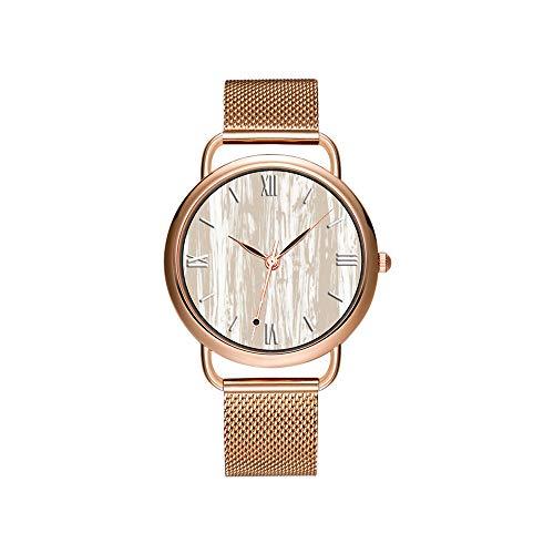 Frauen Uhren Marke Luxus Damen Mesh Gürtel Ultradünne Uhr wasserdichte Uhr Quarzuhr Weihnachten Treibholz Muster - Taupe Tan und weiße Uhren