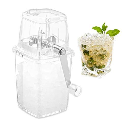 Relaxdays Ice Crusher, manuell, Kurbel & Edelstahl-Mahlwerk, Eiswürfelzerkleinerer Kunststoff, Eiscrusher, transparent