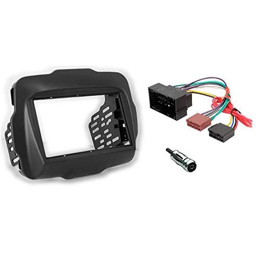 sound-way Kit Montage Autoradio, Façade Cadre 2 DIN, Cadre Metallique, Cable Adaptateur Connecteur ISO, Adaptateur Antenne, Compatible avec Jeep Renegade