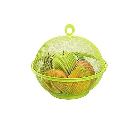 Almacenamiento de la cocina Forma de manzana Malla Hierro Cesta de frutas Encimera de cocina Frutero Tenedor de vegetales con tapa, Mesa de comedor Decoración Caja de recogida,Green
