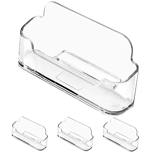 MaxGear 3 Pack Acrylic Business Card Holder for Desk Plastic Business Card Display Clear Business Card Stand Desktop Business Card Holders for Home & Office, 3.82 x 1.80 x 1.43 inches