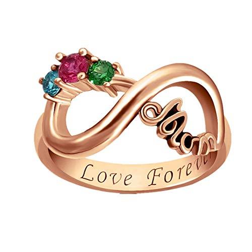 NA Mom 925 Silver Ring Personalisierter, individuell gravierter Name und 3 Birthstone Ring Infinity Symbol Ring für Mutter(Roségold 46 (14.6))