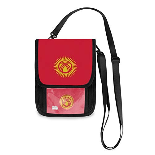 Bandera de Kirguistán Bloqueo RFID Pequeñas Crossbody Bolsas de teléfono celular Monedero con ranuras para tarjetas de crédito