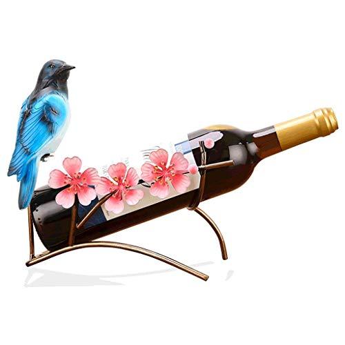 IF.HLMF Soporte decorativo para botellas de vino de metal, para decoración de bar, decoración para el hogar, manualidades, diseño creativo de flor de melocotón, botellas de 25 x 13 x 22 cm
