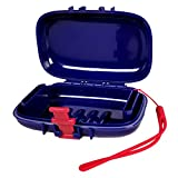 PORTINEER Carry-Dri EZ Travel Soap Case Specially Designed Vents That Lets Bar Dry and Doesn't Leak with Lanyard and Silicone Closure for Home School Gym Hiking - Patented Design - Blue - Red