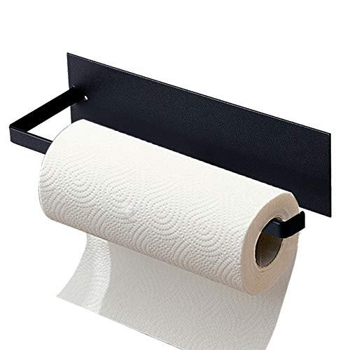 Küchenrollenhalter Wand Edelstahl Papierhandtuchhalter ohne Bohren Badezimmer Papierrollenhalter küchenrollenhalter ohne bohren papier organisator für Handtücher Küchen Küchenkrepp Toilette (Schwarz)