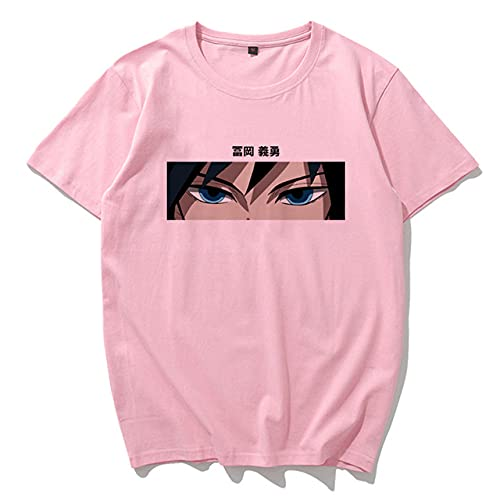 Momyeah Manga Corta Camiseta de Anime de Dibujos Animados de Verano, Talla Grande, Manga Corta, Suelta, Ropa de Mujer Harajuku, patrón de Color sólido, Adecuado para Todas Las Ocasiones, Pink2, L