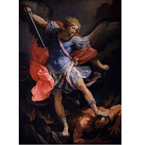 Cartel de Imagen de Arte de Pared, Pintura clásica Guido Reni: El Arcángel Miguel derrotando a Satanás Cartel de Lienzo Pintura Decorativa 50X70 cm sin Marco