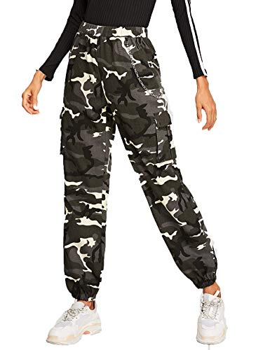 Romwe Women's Workout Jogger Pants High Waist Lightweight Hiking Outdoor Cargo Sweatpants Camo #4 X-Large