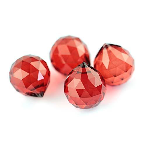 ZIJ Kristallkugel Kronleuchter Kristallglaskugeln Schnittfasse Bälle für hängende Lampe & Beleuchtungsteil Wohnkultur (Farbe : Rot, Größe : 40mm)
