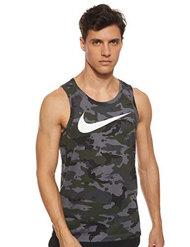 Nike Dri Fit Camo Training Tank (Dark Grey/Black/White, Medium)