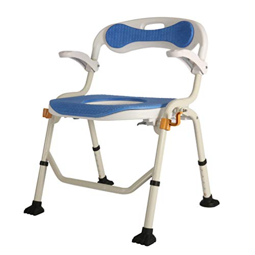 Bedside Commodes for Adults, Bedside Commodes Easy to Fold Adjustable Height Non-Slip Adjustable Armrests Suitable for The Elderly Pregnant Women and Children,Soft Cushion/Back