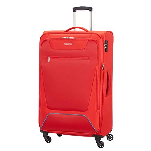 American Tourister Hyperbreez Trolley Large 4 Wheels Color Red Expandable