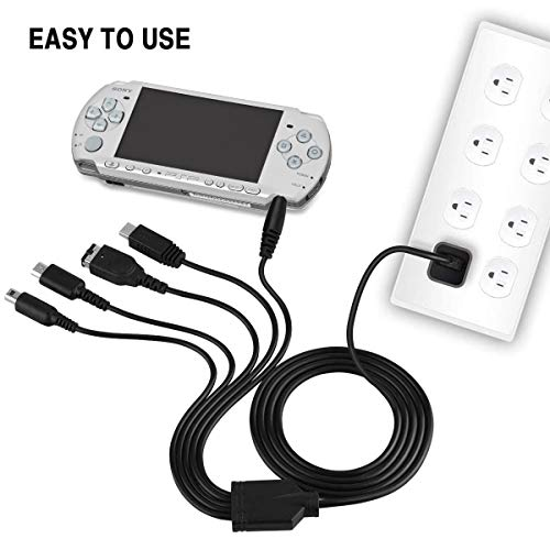 6amLifestyle 5 in 1 USB Charger Cable Multi Function Game Charging Cord Compatible for Nintendo NDS Lite/Wii U/New 3DS XL LL 2DS GBA SP/PSP 1000 2000 3000