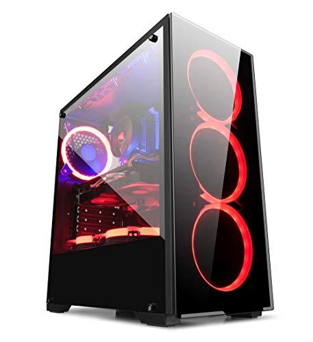GOLDEN FIELD - ATX M-ATX ITX Mid Tower Case PC Gaming con Finestra Laterale (con 3 ventole)